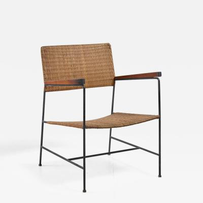 Arden Riddle Rare Arden Riddle Armrest Chair in Rattan