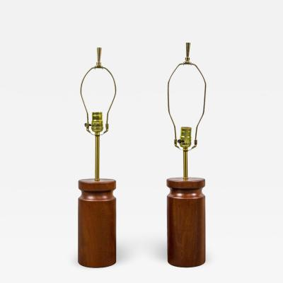 Arden Riddle Rare Pair of Table Lamps by Arden Riddle in Cherry