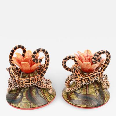 Ardmore Ceramic Art Clouded Leopard Candle Holders