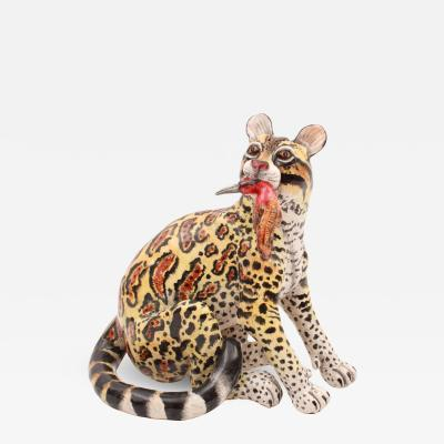 Ardmore Ceramic Art Clouded Leopard Sculpture