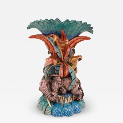 Ardmore Ceramic Art Elephant And Monkey Vase