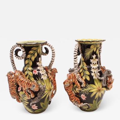 Ardmore Ceramic Art Tiger Vases Pair