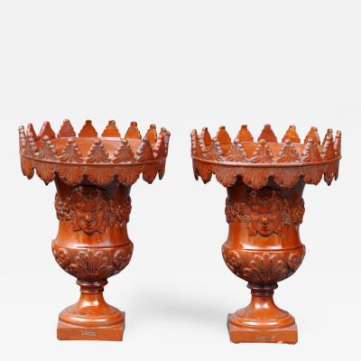 Ardus Pair French Terracotta Urns By Ardus