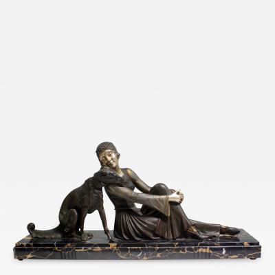 Armand Godard A Lady with her Borzoi dog Art Deco Sculpture Signed Godard