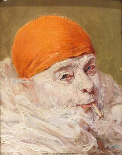 Armand Henrion Clown with Orange Cap Smoking