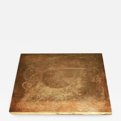 Armand Jonckers Armand Jonckers etched brass square coffee table