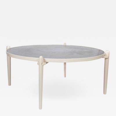 Armand Jonckers Circular Coffee Table Etched Aluminum White