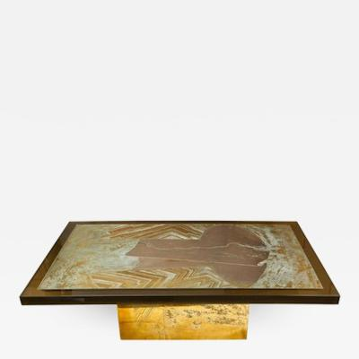 Armand Jonckers Stunning Acid Etched Brass Coffee Table Abstraction by Armand Jonckers