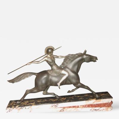 Armand Lemo Art Deco Warrior Goddess Sculpture Attributed to Armand Lemo