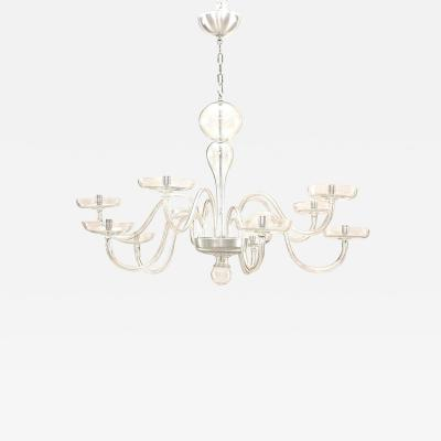 Armand Seguso Italian 1930s Murano Clear Glass Chandelier