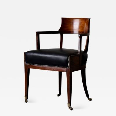 Armchair Desk Mahogany Black Leather Seat Early 19th Century