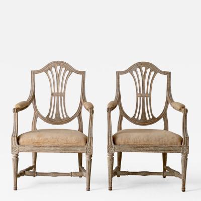 Armchairs Pair Gustavian Original Paint Sweden