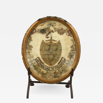 Arms of Aldridge Stitchwork in Oval Giltwood Frame
