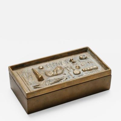 Arnaldo Pomodoro ARNALDO POMODORO CAST SCULPTURAL BRONZE BOX SIGNED II SESTANTE