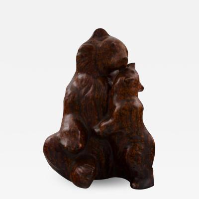 Arne Bang Arne Bang 1901 1983 Figure in stoneware brown bear with cub
