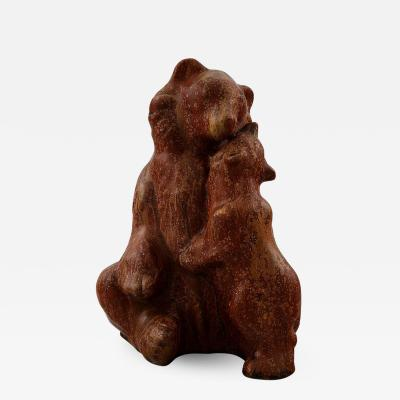 Arne Bang Arne Bang 1901 1983 Figure stoneware in the shape of a brown bear with cub