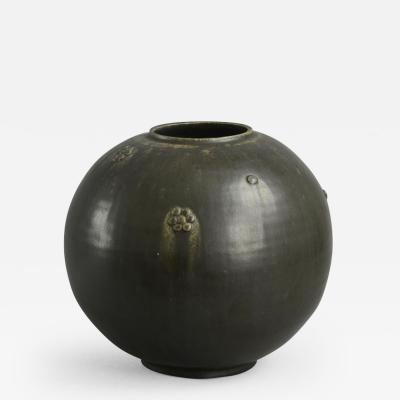 Arne Bang Arne Bang Denmark Large Round Vase with Matte Black Glaze 1930s 40s