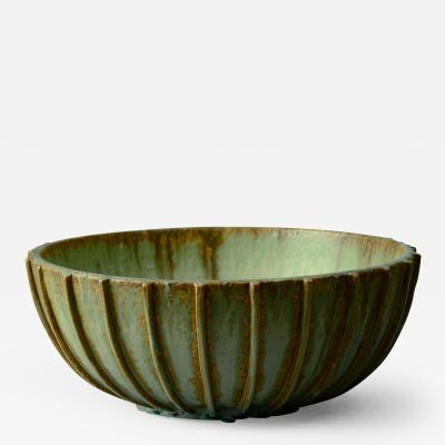 Arne Bang Arne Bang Denmark Ribbed Large Stoneware Bowl with Matte Glaze 1930s 40s