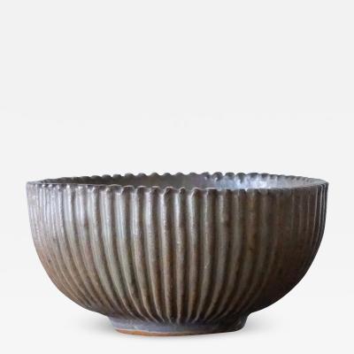 Arne Bang Arne Bang Mid Century Scandinavian Ribbed Ceramic Bowl 1930s