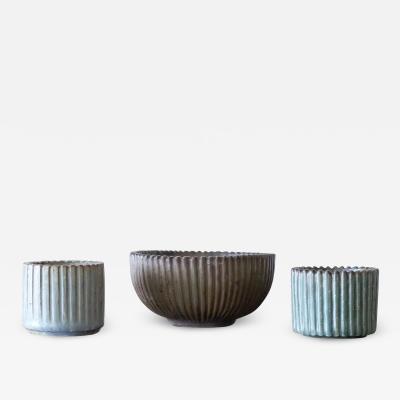 Arne Bang Arne Bang Mid Century Scandinavian Ribbed Ceramic Set 1930s