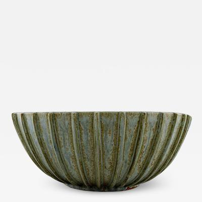 Arne Bang Colossal stoneware bowl with fluted corpus