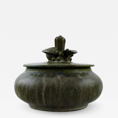 Arne Bang Lidded jar in glazed ceramics Lid decorated with foliage