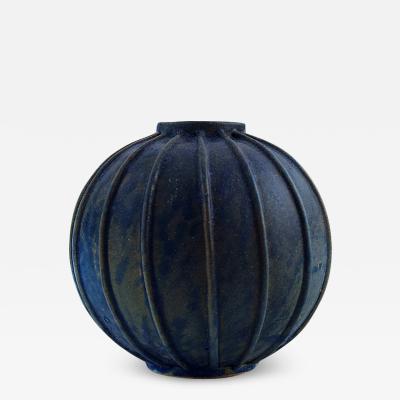 Arne Bang Rare spherical shaped art deco vase of stoneware modeled in fluted style