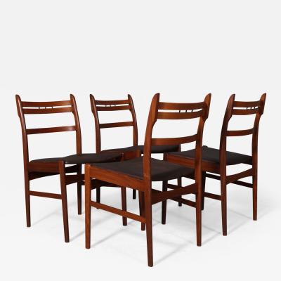 Arne Hovmand Olsen Arne Hovmand Olsen Four teak dining chairs aniline leather 4