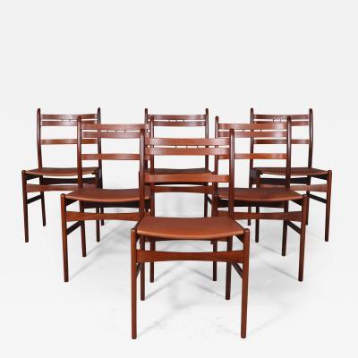 Arne Hovmand Olsen Arne Hovmand Olsen Six teak dining chairs aniline leather 6