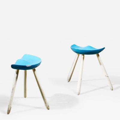 Arne Hovmand Olsen Arne Hovmand Olsen pair of tripod stools Denmark