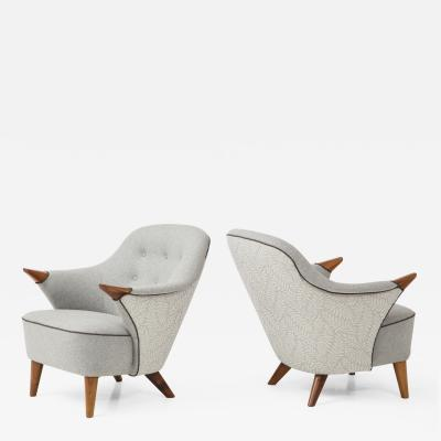 Arne Hovmand Olsen Pair of Danish Tub Back Lounge Chairs by Arne Hovmand Olsen circa 1960s