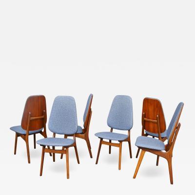 Arne Hovmand Olsen Set 4 Teak Tall Shield Back Dining Chairs by Hovmand Olsen