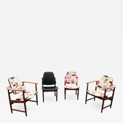 Arne Hovmand Olsen Set of four Mid Century Arne Hovmand Olsen Danish Teak Armchairs and Side Chairs