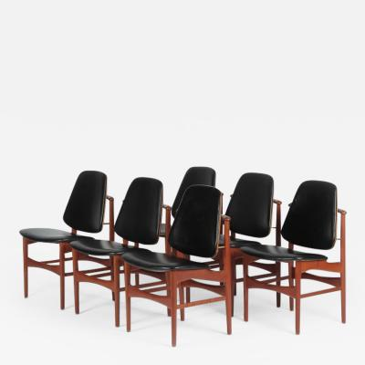 Arne Hovmand Olsen Set with 6 chairs Arne Hovmand Olsen 50s teak leather