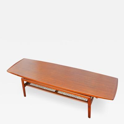 Arne Hovmand Olsen Stunning Teak Coffee Table w Cane Shelf by Hovmand Olsen for Mogens Kold