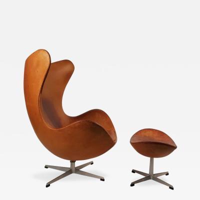 Arne Jacobsen Arne Jacobsen Cognac Leather Egg Chair and Ottoman for Fritz Hansen