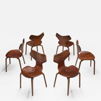 Arne Jacobsen Arne Jacobsen Grand Prix Chairs for Fritz Hansen Denmark 1950s