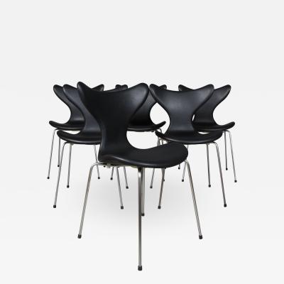 Arne Jacobsen Arne Jacobsen set of six 3108 Liljen Chairs aniline leather