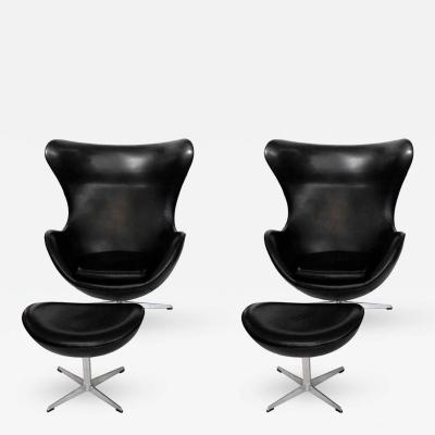 Arne Jacobsen Early Arne Jacobsen Egg Chair w Ottoman Black Leather Pr