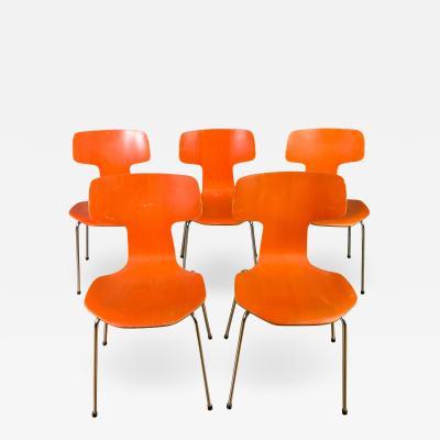 Arne Jacobsen Five Arne Jacobsen Orange Hammer Chairs Fritz Hansen 1974