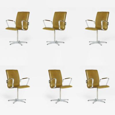 Arne Jacobsen Leather Oxford Chairs by Arne Jacobsen for Fritz Hansen Early Production