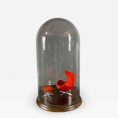 Arne Jacobsen Miniature Arne Jacobsen Egg Chair by Brio Sweden Under Cloche