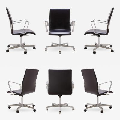 Arne Jacobsen Oxford Classic Low Back Chairs in Leather by Arne Jacobsen for Fritz Hansen S 6