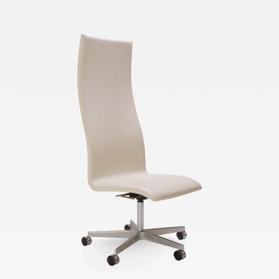 Arne Jacobsen Oxford High Back Chair in Ivory Leather by Arne Jacobsen for Fritz Hansen