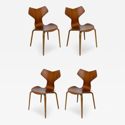 Arne Jacobsen Set of Four Arne Jacobsen Grand Prix Chairs