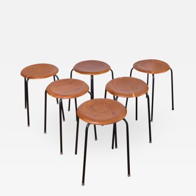 Arne Jacobsen Set of Six Vintage Arne Jacobsen Dot Stools