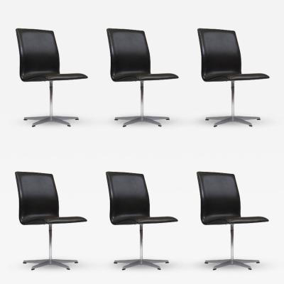 Arne Jacobsen Six Arne Jacobsen for Fritz Hansen Oxford Chairs in Black Leather