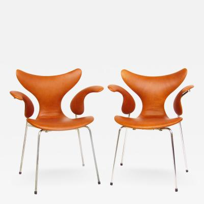 Arne Jacobsen Two 1970s Lily Chairs In Leather By Arne Jacobsen