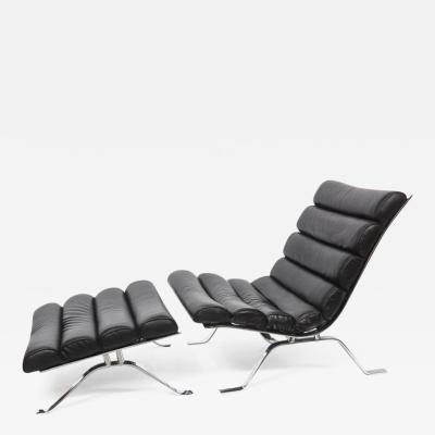 Arne Norell Arne Norell Chrome and Leather Chair and Ottoman Sweden