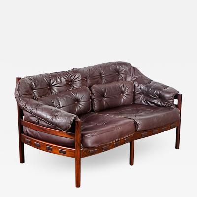 Arne Norell Arne Norell Rosewood and Leather Loveseat